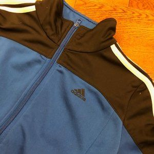 Adidas track jacket small front zip blue/black